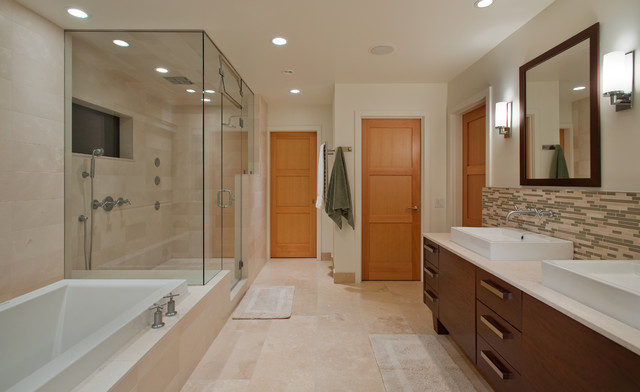 Inspiration for a contemporary bathroom remodel in Seattle with a vessel sink