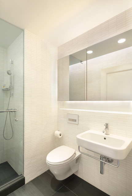 Inspiration For A Small Modern 3 4 White Tile And Stone Alcove Shower Remodel