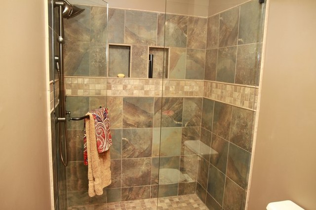 Earth tone shower - Bathroom tile ideas bathroom ...