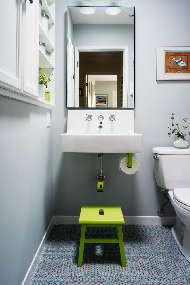 Bathroom - small transitional kids' ceramic tile mosaic tile floor and blue floor bathroom idea in San Francisco with a wall-mount sink, gray walls and a two-piece toilet