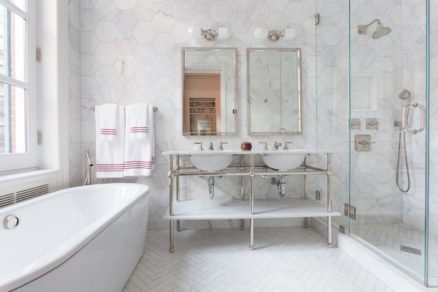 East Village Brownstone transitional-bathroom