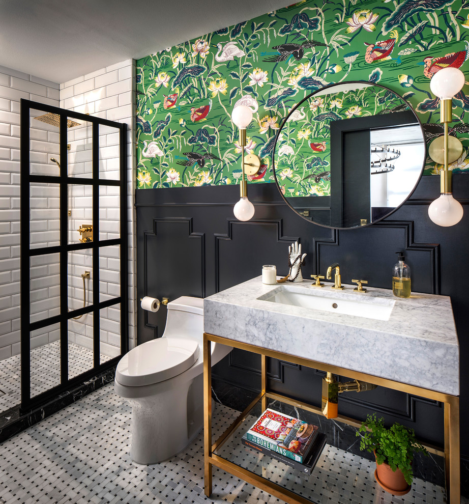 Bathroom - mid-sized eclectic 3/4 white tile and subway tile porcelain tile and white floor bathroom idea in San Francisco with open cabinets, a one-piece toilet, black walls, marble countertops, an undermount sink and gray countertops