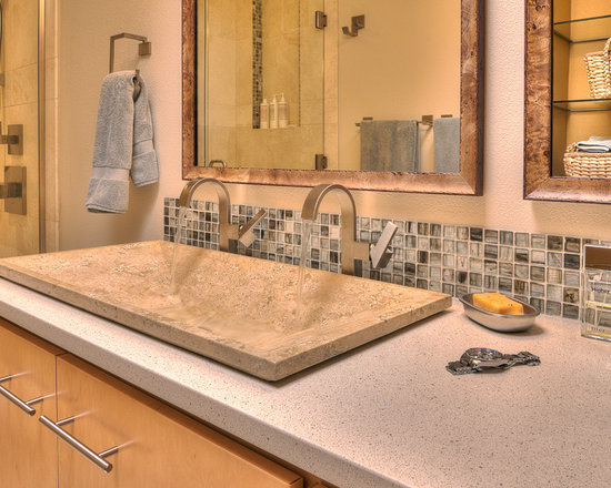 Small Travertine Sink And Tile Bath Design Ideas, Pictures ...