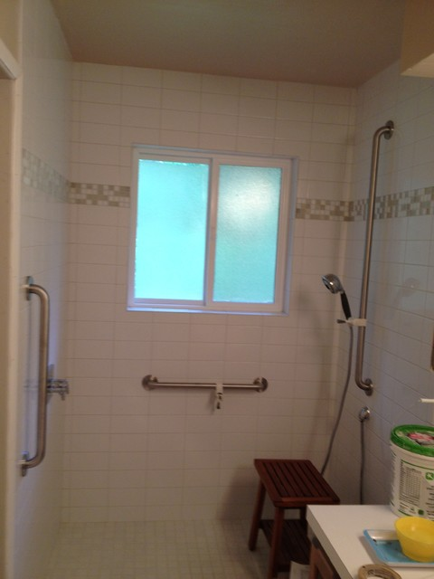 access showers transitional bathroom portland by toss the tub