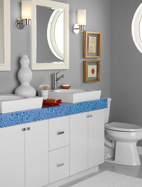 9495 Blue Malachite: Formica® Laminate Jonathan Adler Collection eclectic-bathroom