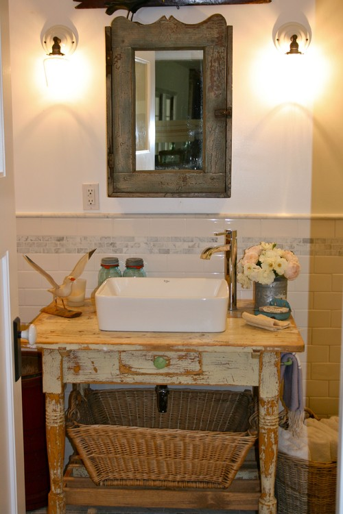 Add An Older Style With A Vintage Vanity In The Bathroom Shell New Bathroom Remodel Company Decor