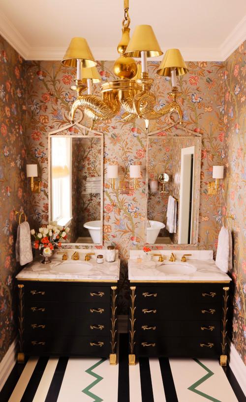 Metallic Wallpaper Eclectic Bathroom