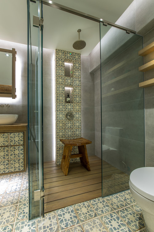 Eclectic Bathroom with Antique Tiles