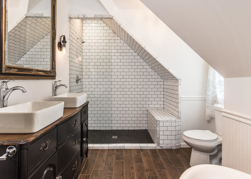 bathroom subway tile with black grout