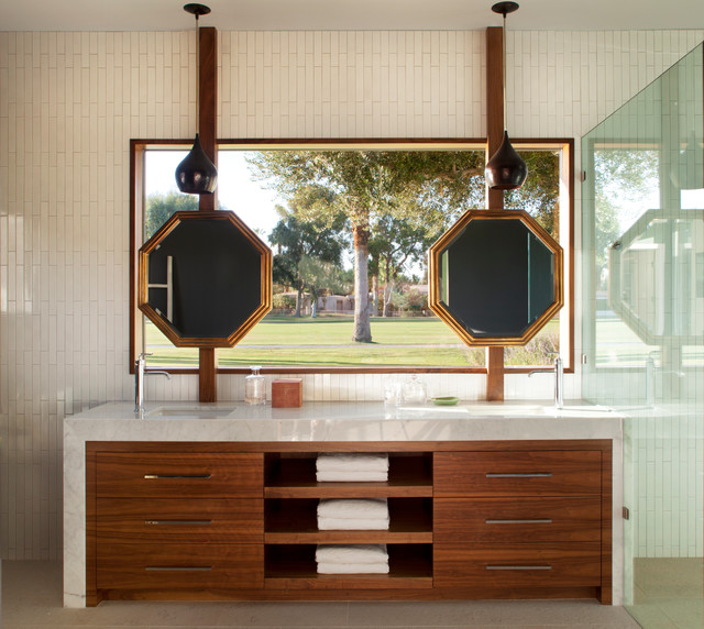 Eclectic Mid Century Rancho Mirage Asian Bathroom