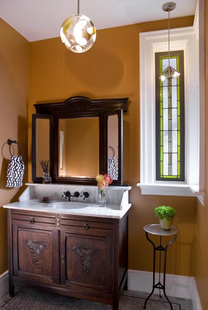 Eclectic modern tudor bath for Tudor bathroom design