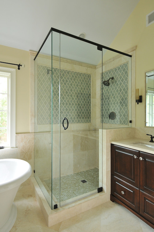 how much space between the freestanding tub and shower. Black Bedroom Furniture Sets. Home Design Ideas