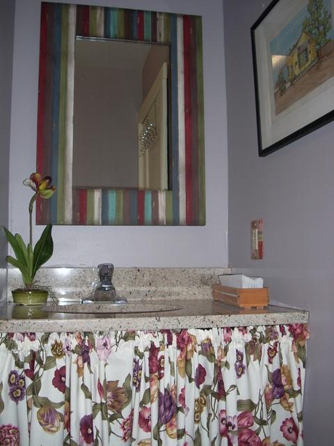 Eclectic vanity with decorative skirt eclectic-bathroom