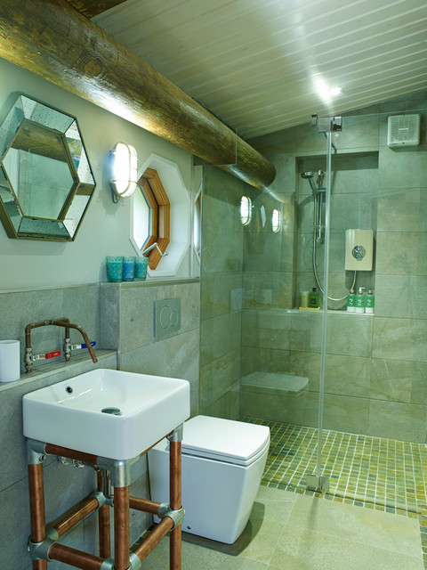 Eco friendly holiday home bathroom other by cream black interior design for Eco friendly bathroom remodel