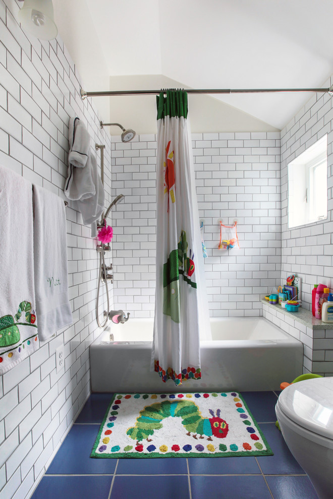 Inspiration for a mid-sized timeless kids' white tile and subway tile porcelain tile and blue floor bathroom remodel in DC Metro