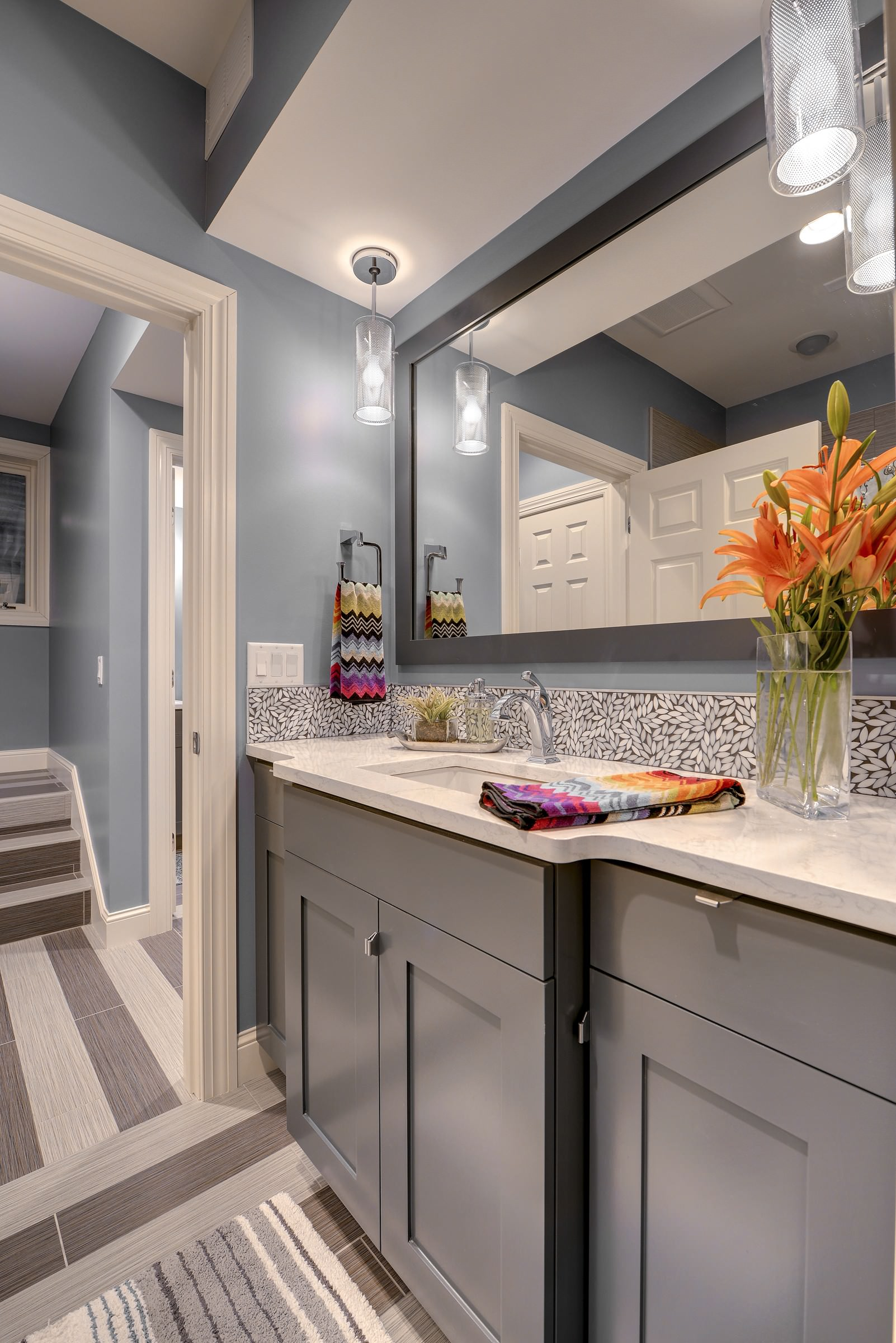 Grey Cabinets Blue Walls Houzz