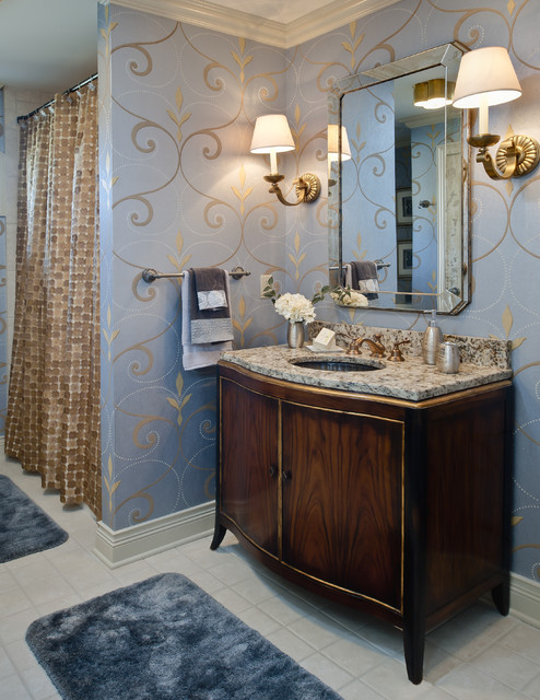 Edward Postiff Interiors  Http://st.houzz.com/simgs/72e1f454000840d8_4 5694/traditional Bathroom.  Wallpaper Is Back For 2015 Trends!