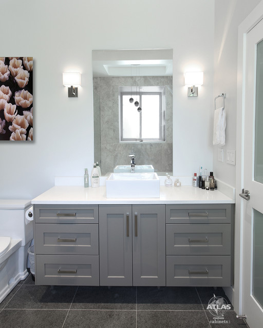 Elegant and bright surrey bc contemporary bathroom for Kitchen cabinets surrey