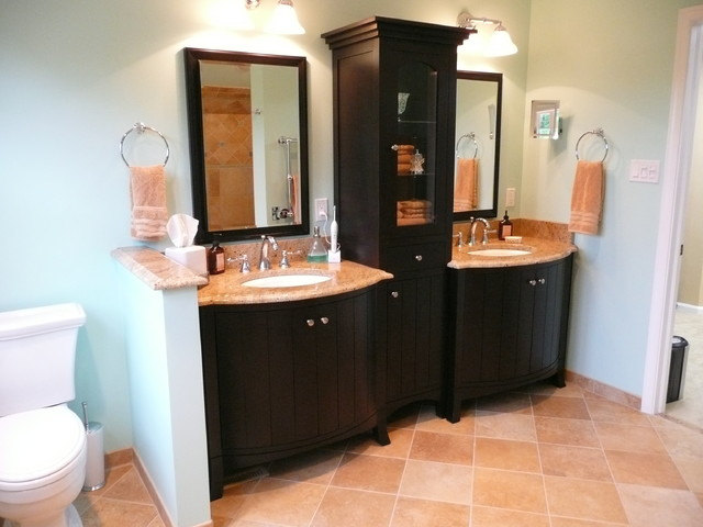Elegant Bow Front Double Vanity With Center Linen Cabinet