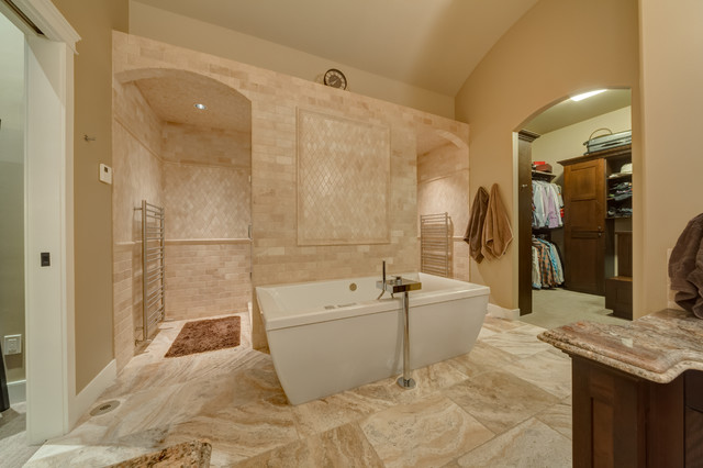 Inspiration For A Timeless Beige Tile And Travertine Freestanding Bathtub Remodel In Calgary With Dark