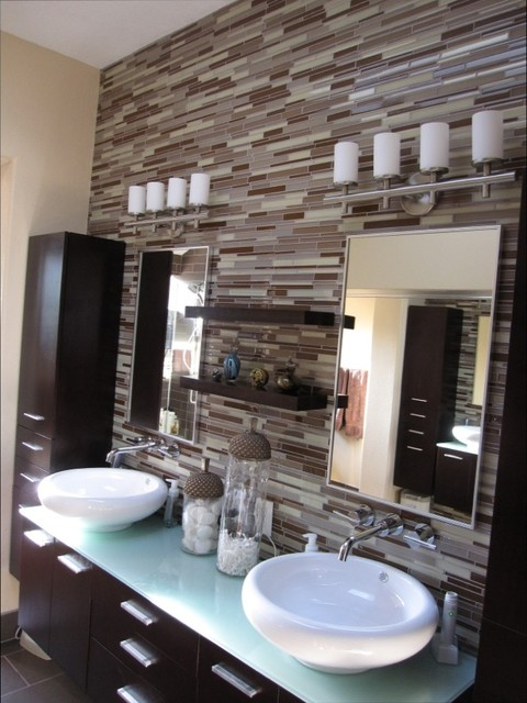 Elegant Contemporary Backsplash Contemporary Bathroom Orange