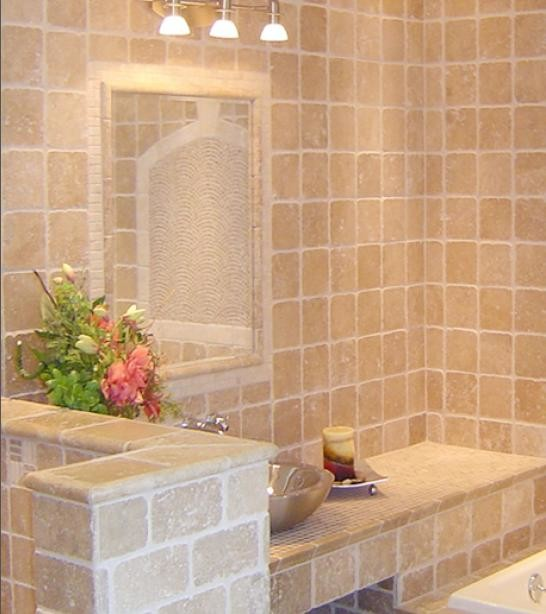 Elegant ivory travertine tile traditional bathroom for Travertine tile bathroom gallery
