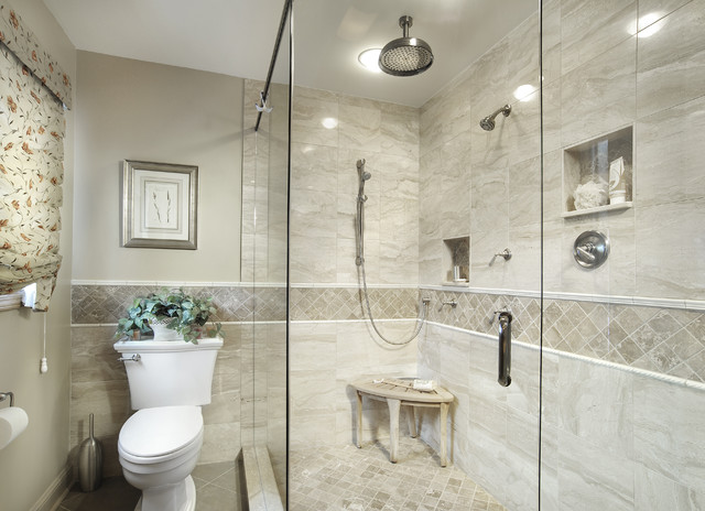 Lovely Inspiration For A Timeless Beige Tile And Marble Tile Corner Shower Remodel  In Miami With A