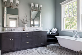 Fantastic Master Bathroom In London With Flatpanel Cabinets White Cabinets