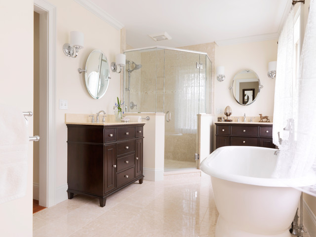 Elegant master bath with his and hers vanities for His and hers bathroom decor