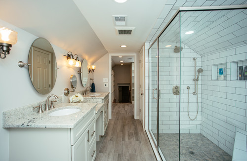 Elegant Master Bathroom & Closet in Previous Attic Space in Alexandria