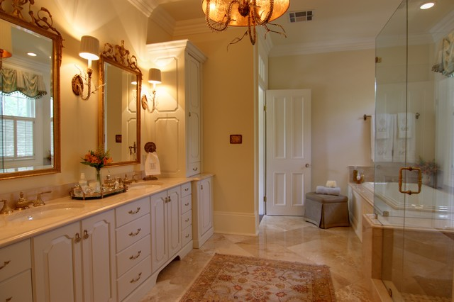 Elegant Master Bathroom with Custom Cabinetry & Lighting ...