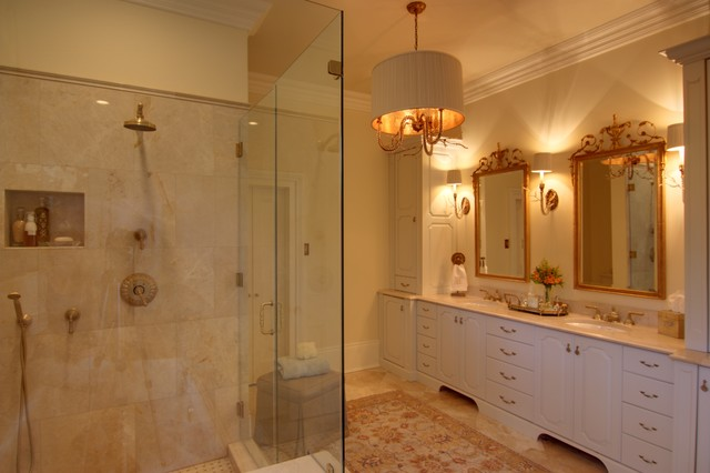 Elegant Master Bathroom With Custom Cabinetry Amp Lighting