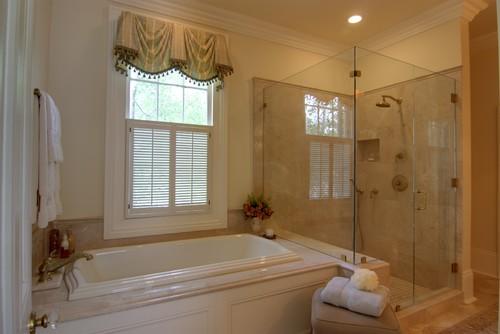 Elegant master bathroom with custom cabinetry lighting for Bathroom design 4x4
