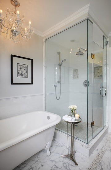 Elegant master ensuite traditional bathroom toronto for Ensuite lighting ideas