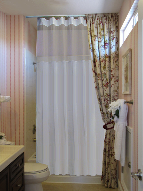 Ceiling track shower curtain
