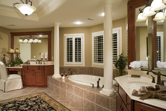 Elegant Traditional Home with English Pub traditional bathroom