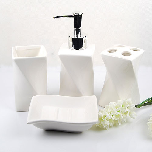 Elegant White Ceramic Bathroom Accessory 4piece Set Contemporary