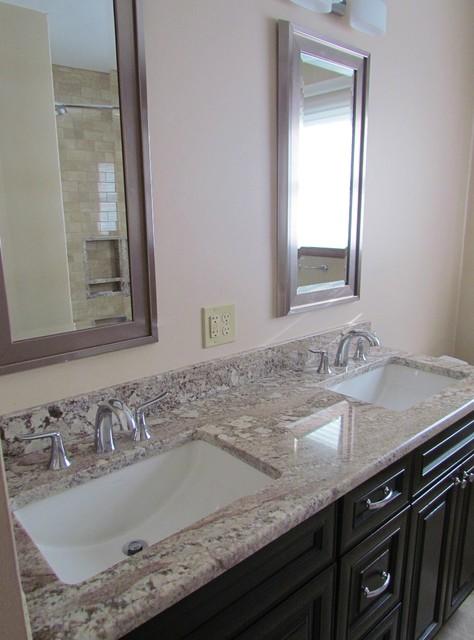 Elegant White Granite Bathroom Vanity Transitional