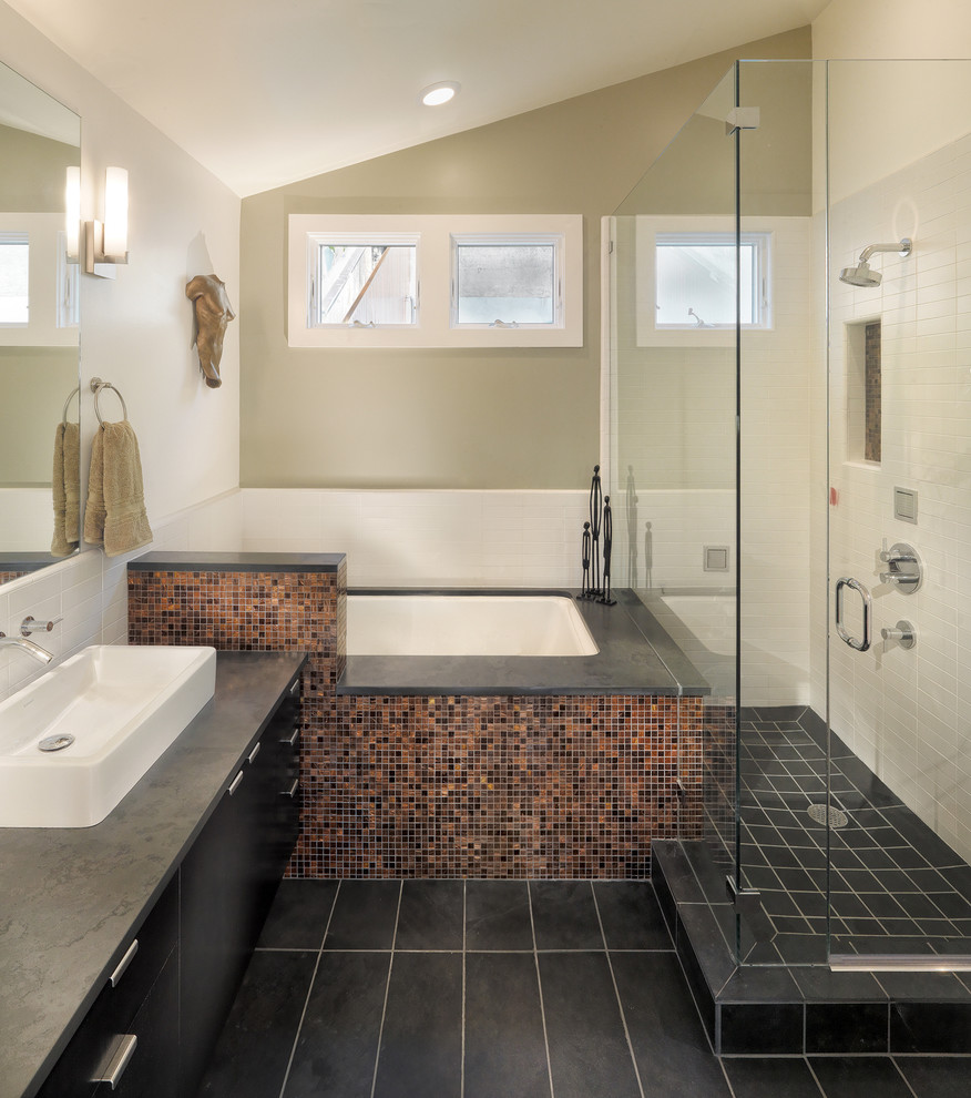 Bathroom - contemporary mosaic tile bathroom idea in San Francisco with a vessel sink