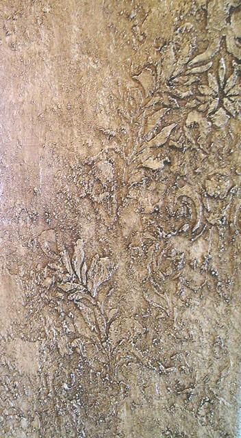 Embossed Damask Plaster (detail) mediterranean-bathroom