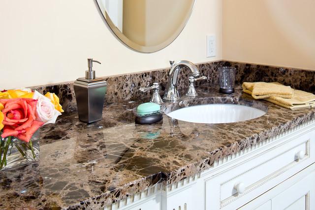 Emperador Dark Marble Vanity Traditional Bathroom Boston