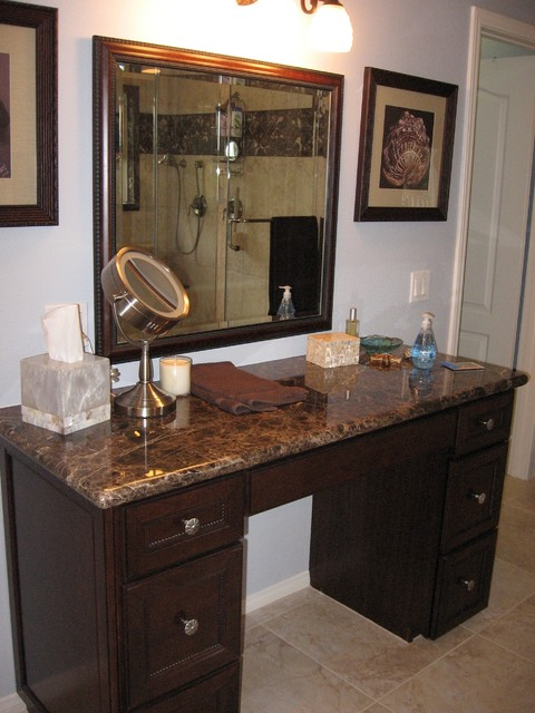 Emperador Dark Traditional Bathroom Orange County