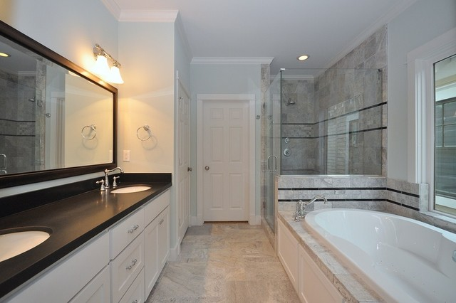 Emser Tile Silver Travertine Bathroom