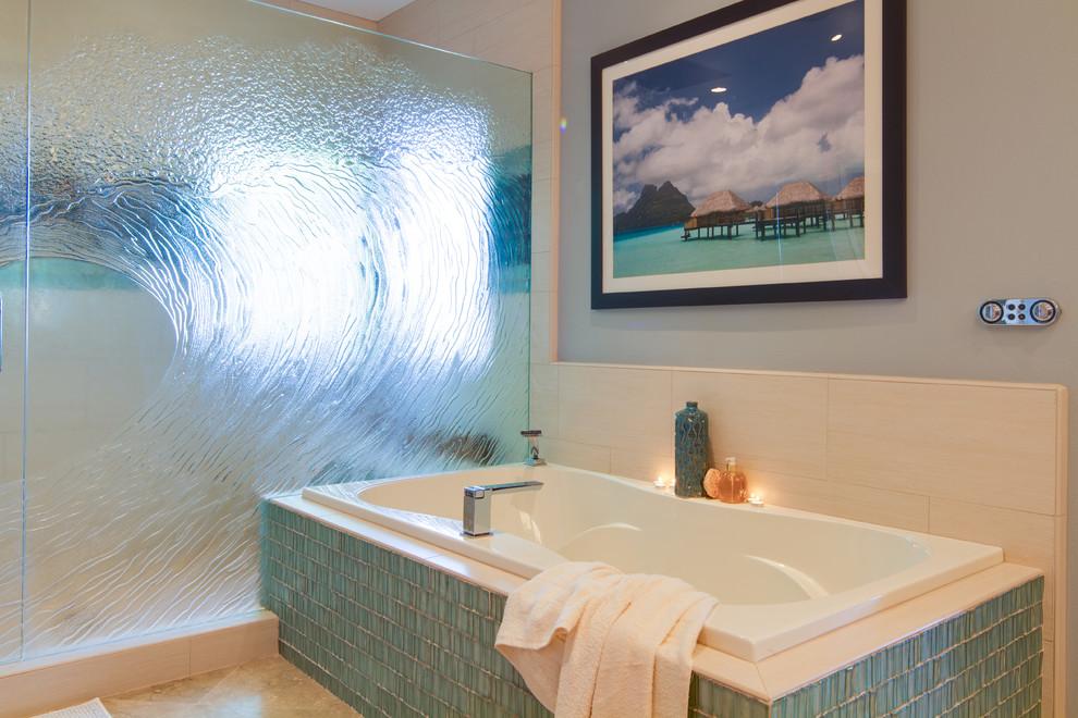 Bathroom - contemporary blue tile and glass tile bathroom idea in San Diego