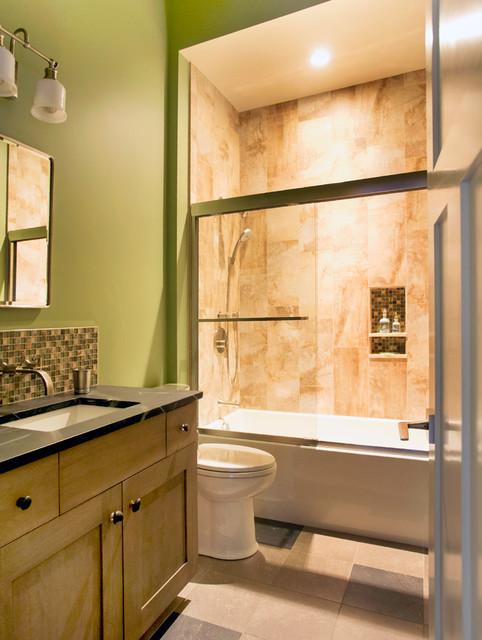 Energy efficient empty nester new england timber frame for New england bathroom ideas
