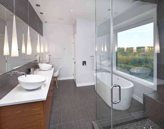 Ensuite contemporary bathroom edmonton by habitat for Ensuite lighting ideas