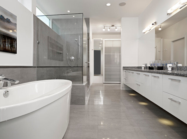 Ensuite modern bathroom edmonton by habitat studio for Bathroom ideas edmonton