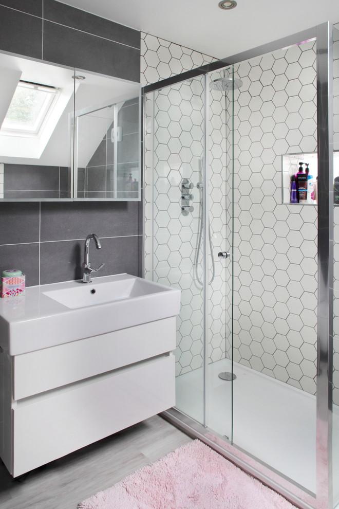 Ensuite Shower Room Hexagon Tiles Contemporary