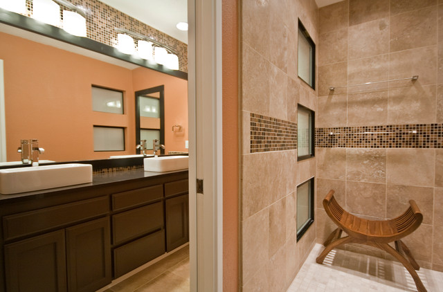 Brilliant 40 Brown Mosaic Bathroom Tiles Ideas And Pictures