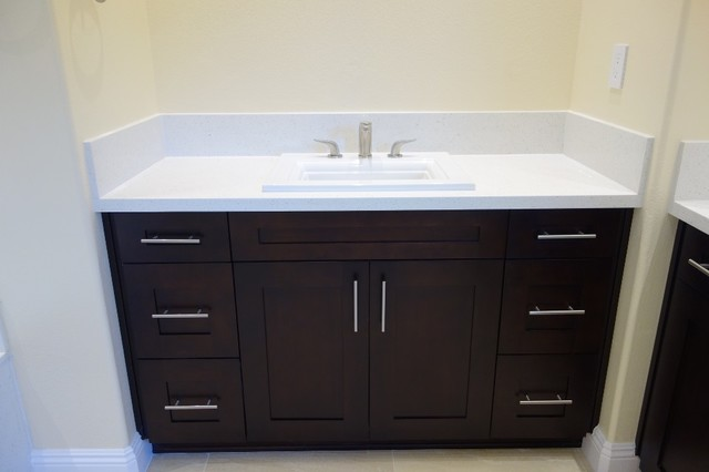 Espresso shaker vanity with quartz countertop for Espresso bathroom ideas